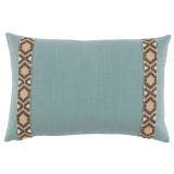 Aquamarine Linen With Fossil On Tan Camden Tape Lumbar Pillow 13 X 19 In