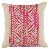 Jaipur Silk Embroidery Mulberry On Linen Pillow 20 X 20 In