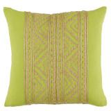 Jaipur Silk Hemp Embroidery on Spring Green 20×20 Pillow