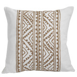 Jaipur Silk Embroidery Bisque On White Pillow 20 X 20 In