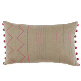 Mulberry Stitching on Natural Linen 13×22 Lumbar Pillow with Mulberry Riviera Ball Fringe