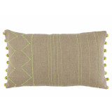 Spring Stitching on Natural Linen 13×22 Lumbar Pillow with Spring Riviera Ball Fringe