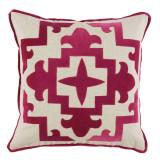 Sultana Applique Blossom Velvet 22×22 Pillow on Heavy Basket with Blossom Velvet Flange