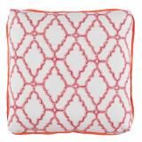 Kai Mulberry 24×24 Pillow with Hot Lava Linen Flange and Turkish Corners
