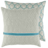 Spa Quilted Linen 20×20 Pillow with Spa Brass Zipper and Isla Capri Back
