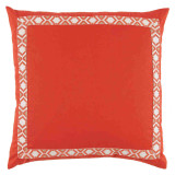 Mandarin Linen With Camden Tape Coral On White Pillow 24 X 24 In