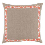 Natural Linen With Camden Tape Coral On White Pillow 24 X 24 In