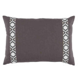 Grey Linen With Camden Tape Gunmetal On White Lumbar Pillow 13 X 19 In
