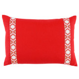 Mandarin Linen With Camden Tape Coral On White Lumbar Pillow 13 X 19 In