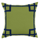 Rio Ginko With Navy Tape Outdoor Pillow 20 X 20 In