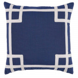 Rio Navy With White Tape Outdoor Pillow 20 X 20 In