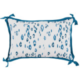 Leopard Tidal With Teal Flange Lumbar Outdoor Pillow 13 X 19 In