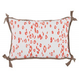Leopard Melon With Taupe Flange Lumbar Outdoor Pillow 13 X 19 In