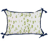 Leopard Ginko With Navy Flange Lumbar Outdoor Pillow 13 X 19 In
