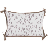 Leopard Taupe With Taupe Flange Lumbar Outdoor Pillow 13 X 19 In