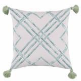Bamboo Surf With Spa Tassels Outdoor Pillow 20 X 20 In