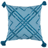 Bamboo Tidal With Teal Tassels Outdoor Pillow 20 X 20 In