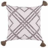 Bamboo Taupe With Taupe Tassels Outdoor Pillow 20 X 20 In
