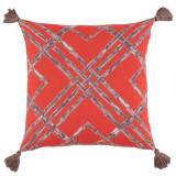 Bamboo Melon With Taupe Tassels Outdoor Pillow 20 X 20 In