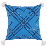 Bamboo Typhoon With White Tassels Outdoor Pillow 20 X 20 In
