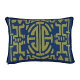 Kyoto Ginko With Navy Flange Lumbar Outdoor Pillow 13 X 19 In