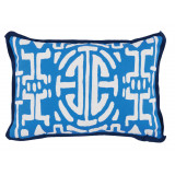 Kyoto Typhoon With Navy Flange Lumbar Outdoor Pillow 13 X 19 In