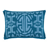 Kyoto Tidal With Teal Flange Lumbar Outdoor Pillow 13 X 19 In