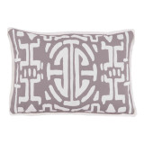Kyoto Taupe With White Flange Lumbar Outdoor Pillow 13 X 19 In