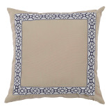 Como Navy Tape On Almond Outdoor Pillow 22 X 22 In