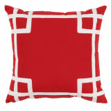 Rio Red With White Tape Outdoor Pillow 20 X 20 In