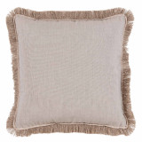 Silver With Sand Flange & Outdoor Fringe Outdoor Pillow 20 X 20 In