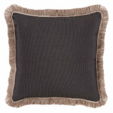 Coal With Sand Flange & Outdoor Fringe Outdoor Pillow 20 X 20 In