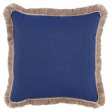 Navy With Flax Flange & Outdoor Fringe Outdoor Pillow 20 X 20 In