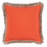 Melon With Flax Flange & Outdoor Fringe Outdoor Pillow 20 X 20 In