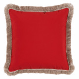 Red With Sand Flange & Outdoor Fringe Outdoor Pillow 20 X 20 In