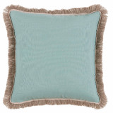 Surf With Flax Flange & Outdoor Fringe Outdoor Pillow 20 X 20 In