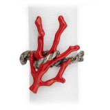 Coral Platinum Napkin Rings - Four