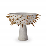 Celestial Grey + Gold Footed Bowl - Large