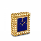 Pyramide Clock - Gold + Lapis 4 x 2 x 4.5 in