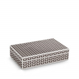 Chevron Rectangular Box - Platinum + Grey Enamel - Medium 8.5 x 5.5 x 2 in