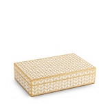 Chevron Rectangular Box - Gold + White Enamel - Medium 8.5 x 5.5 x 2 in