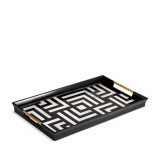 Dedale Rectangular Tray - Black + White Natural Shells - Large 23.5 x 13.5 x 2 in