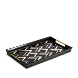 Deco Noir Rectangular Tray - Black + Grey + White Natural Shells - Large 23.5 x 13.5 x 2 in