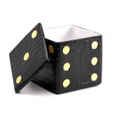 Games - Dice Decorative Box - Crocodile - Black 4.5 x 4.5 x 4.5 in