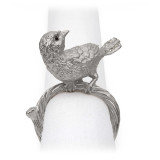 Bird Platinum/White Crystals Napkin Rings, Four