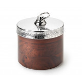 Kenya Indian Rosewood Round Box w/Croc Lid 4½ in