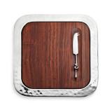 Sierra Serve Tray w/Wood Insert & Cheese Knife 14 x 14 in