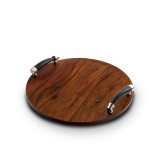 Orion Round Wood Tray w/Buffalo Horn Handles 16 in. D