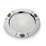 Santa Fe Round Serve Tray w/Green Onyx Stone 17 in