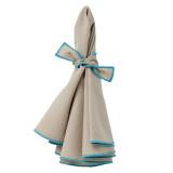 Napa napkins (set of 4), beige/turquoise hem